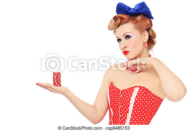 Girl with poker chips - csp9485153