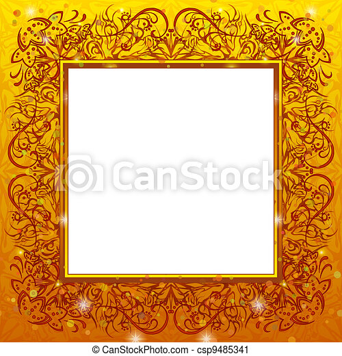 Golden holiday frame - csp9485341