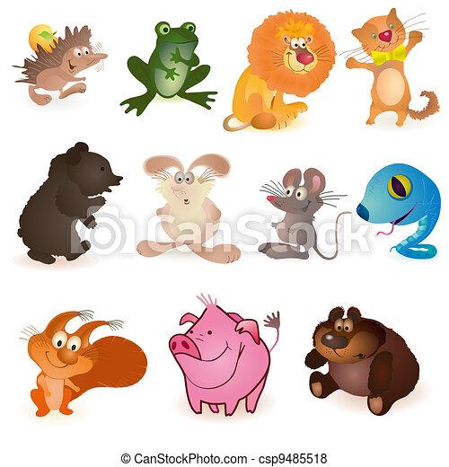 Stock Illustratie van Set, elf, gekke, dieren csp9485518 - Zoek naar ...