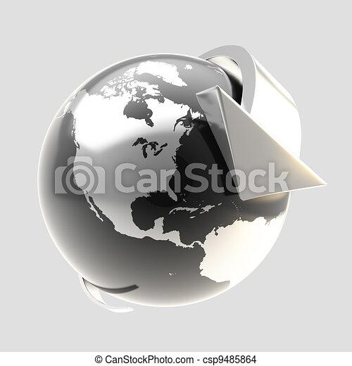 Earth globe symbol with arrow orbit - csp9485864