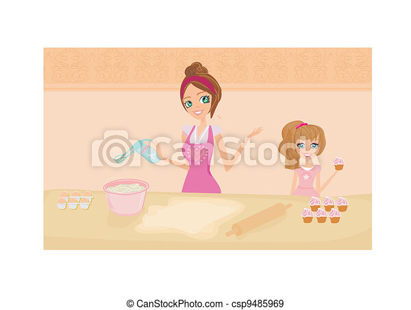 mother helping her daughter cooking - csp9485969