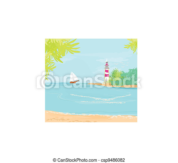 lighthouse seen from a tiny beach  - csp9486082