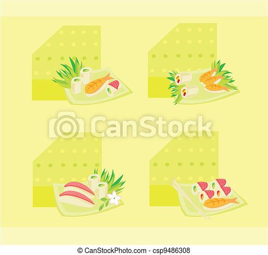 vector illustration of sushi set  - csp9486308