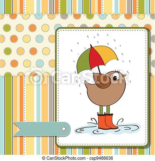 baby shower card with little bird - csp9486636