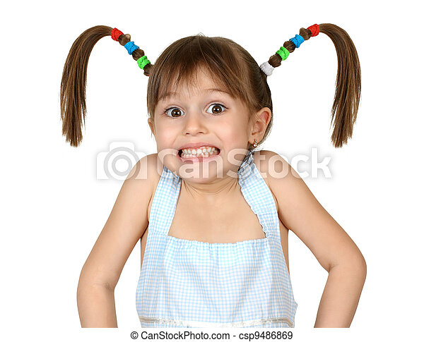 Portrait of funny shoked child girl with long tails on white - csp9486869