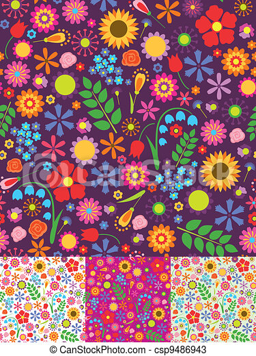 Floral seamless patterns - csp9486943