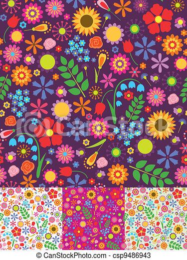 Floral seamless patterns - csp9486943