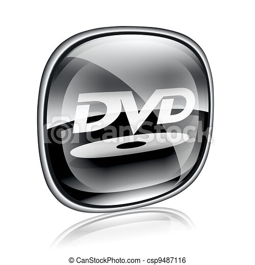 Stock Illustration of DVD icon button black glass, isolated on ...