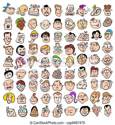 People face expression doodle cartoon icons, happy characters art - csp9487475