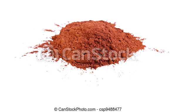 Cocoa powder on a white background - csp9488477