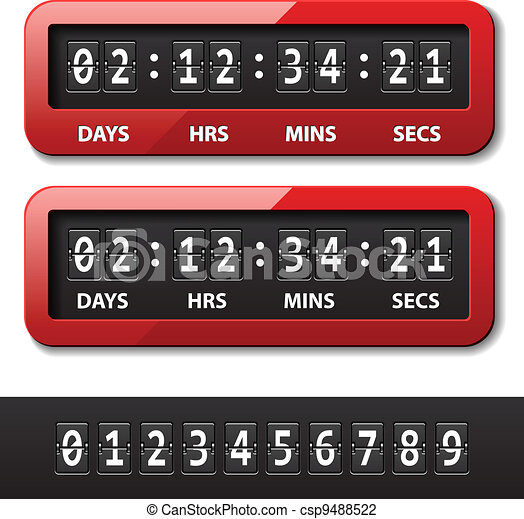 vector red mechanical counter - countdown timer - csp9488522