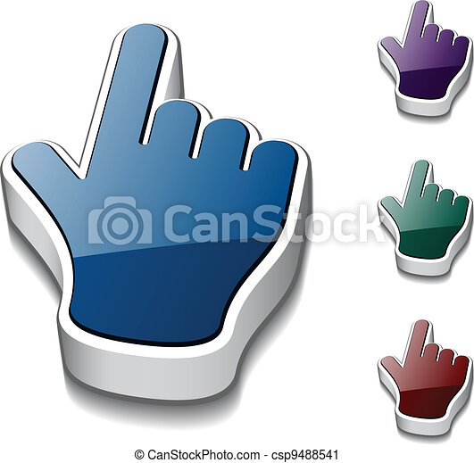 vector 3d hand cursors - csp9488541