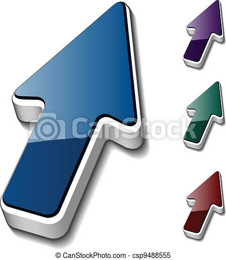 vector 3d arrow cursors - csp9488555