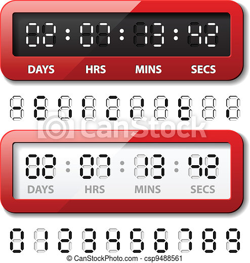 vector red mechanical counter - countdown timer - csp9488561