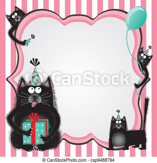 Kitty cat birthday party invitation - csp9488794