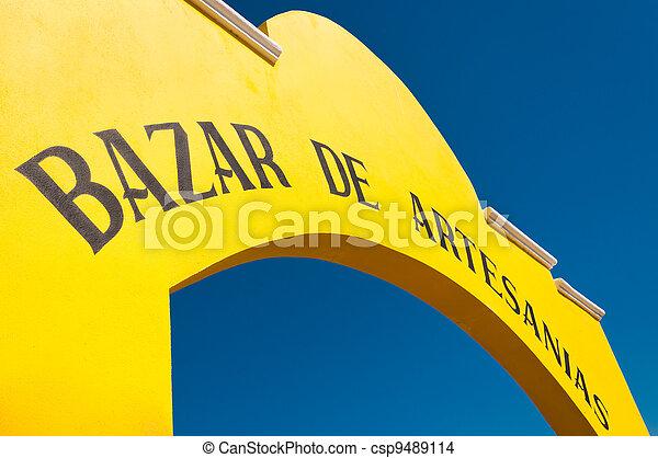 Bazar de Artesanias or Art market in Progreso Yucatan peninsula Mexico where you can buy second hand and home made goods for very cheap. - csp9489114