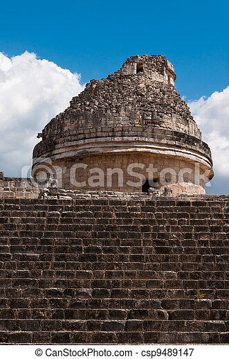 Chicken-Itza El Caracol Mayan Observatory on Yucatan peninsula in Mexico. Observations of Venus. - csp9489147