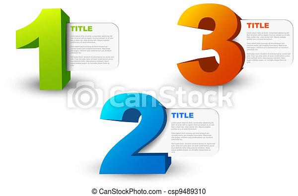 One two three - 3D vector progress icons - csp9489310