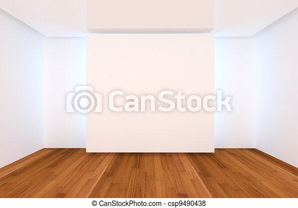 empty room color wall and wood floor - csp9490438