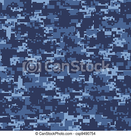 Military blue camouflage seamless pattern. - csp9490754