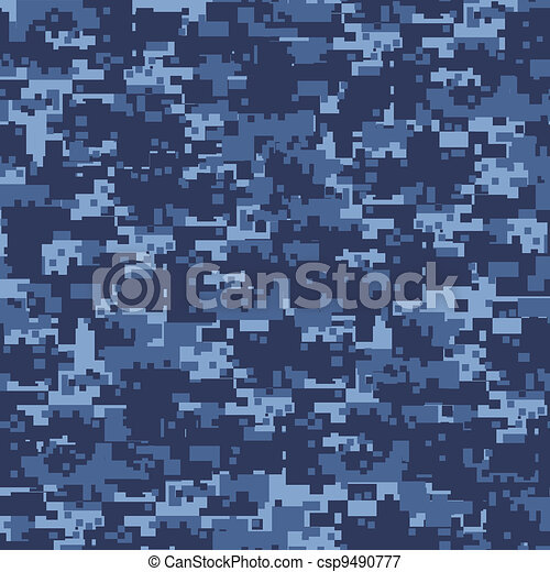 Military blue camouflage seamless pattern. - csp9490777