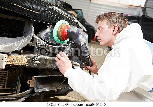 stock fotografie von reparatur auto polieren scheinwerfer mechaniker auto csp9491210. Black Bedroom Furniture Sets. Home Design Ideas