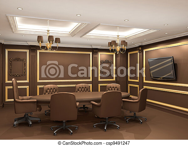 Conference table in royal office interior space. Old styled apartment - csp9491247