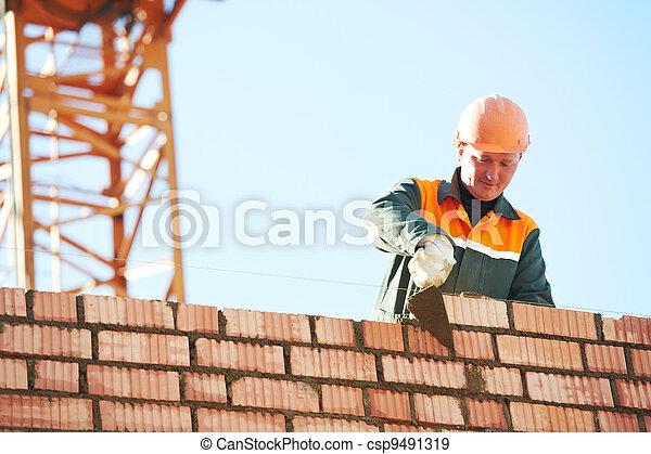 construction mason worker bricklayer - csp9491319
