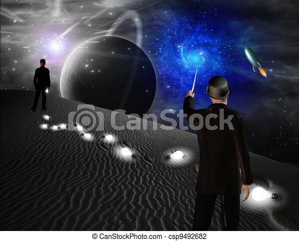 Man points toward galaxy in science fiction scene - csp9492682