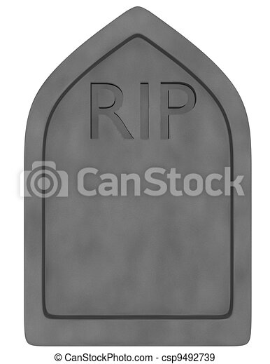 3d Render of a Tombstone Isolated on White - csp9492739