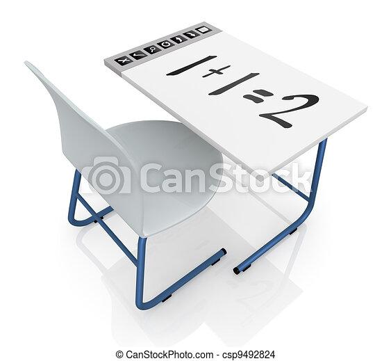 school desk with interactive display - csp9492824