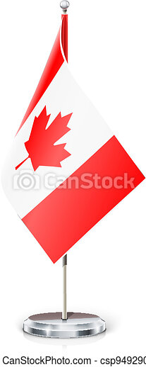 Canadian flag on flagstaff and support - csp9492902