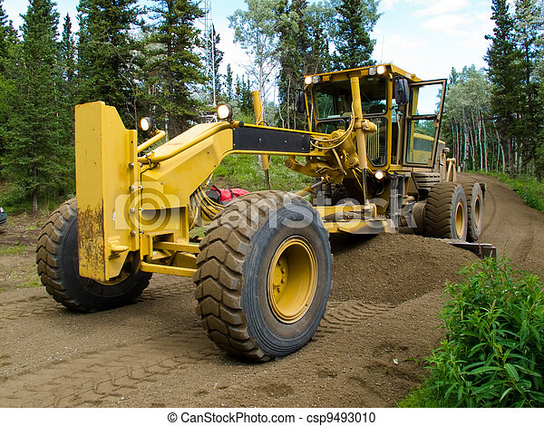 Grader resurfacing narrow rural road - csp9493010