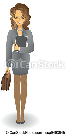 Girl with a briefcase in a gray suit - csp9493645