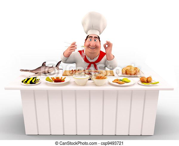 Clipart de chef cuistot table cuisine nouilles 3d for Cuisine dessin 3d