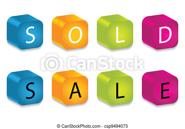 sold and sale words made by letter blocks - csp9494073