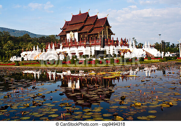 Ho kham luang in the international horticultural exposition 2011, the northern thai style building in royal flora expo, Chiang mai, Thailand - csp9494318