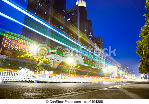 Nightscape Downtown  with  headlights trails - csp9494388