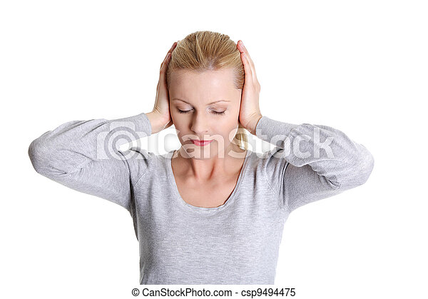 Young woman feeling a pain in ear - csp9494475