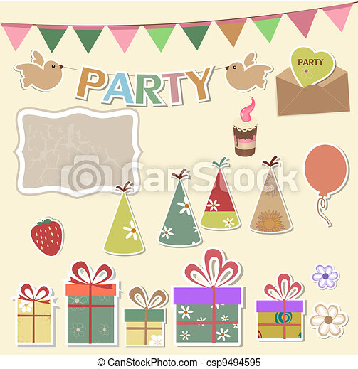 Party design elements for scrapbook - csp9494595