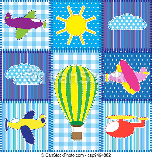 Patchwork with colorful aircraft - csp9494882