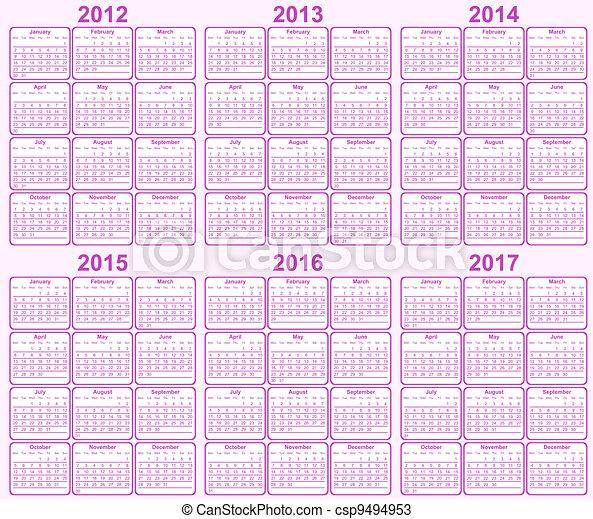 Calendar 2012, 2013, 2014, 2015, 20 - csp9494953