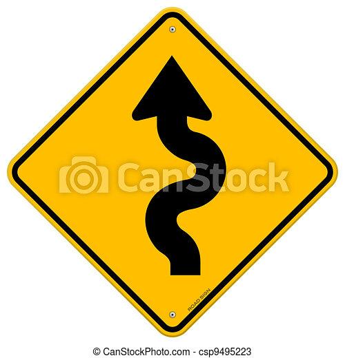 Winding Road Sign - csp9495223