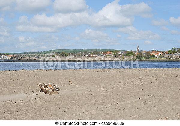 looking over the Tweed estuary to Berwick-upon-Tweed medieval city walls,bridges and river, spire and sandbank - csp9496039