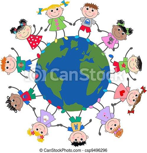 mixed ethnic children  - csp9496296
