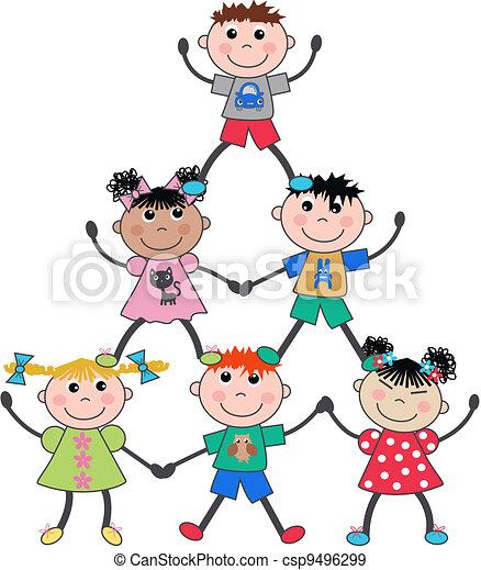 mixed ethnic children - csp9496299