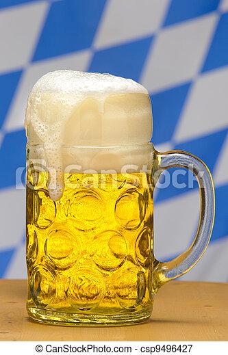 big glass of 1 liter german bavarian beer - csp9496427
