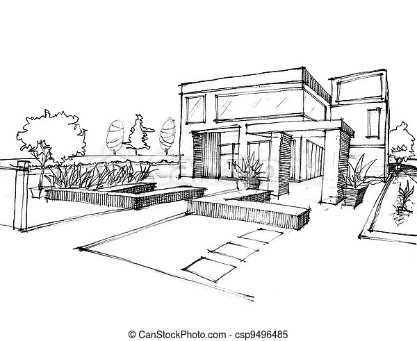 Images de maison croquis papier conception blanc for Croquis d une maison