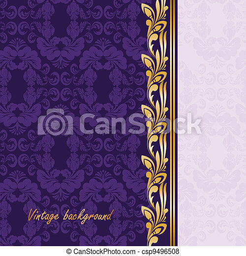 Gilded ornament on a purple - csp9496508
