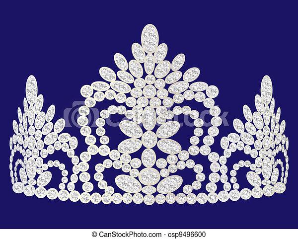 beautiful diadem feminine wedding on we turn blue background - csp9496600
